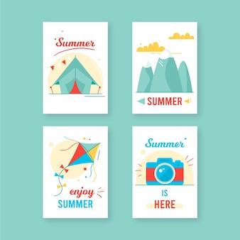 Pacote de cartões de verão desenhada de mão