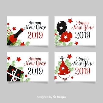 Pacote de cartões de visco plana de ano novo