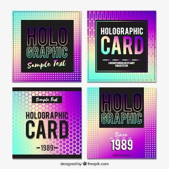 Pacote de cartões holográficos modernos