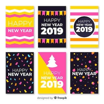 Pacote de cartões simples de ano novo