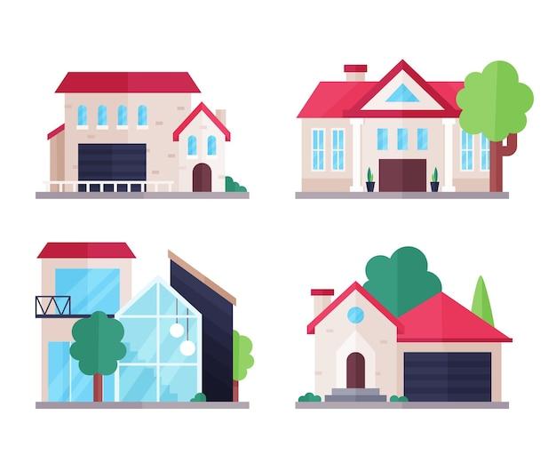 Pacote de casa de design plano