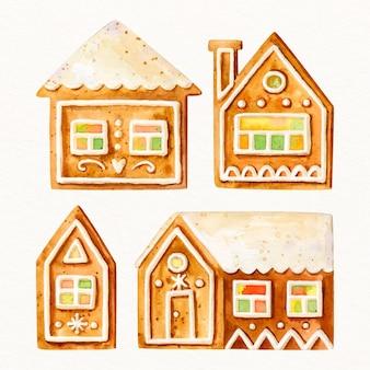 Pacote de casa de pão de mel aquarela