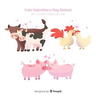 Pacote de casais de animais de fazenda dos namorados