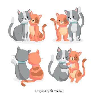 Pacote de casais de gatos dos namorados
