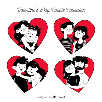 Pacote de casais namorados em quadrinhos