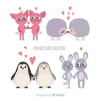 Pacote de casal animal mão desenhada dos namorados
