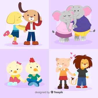 Pacote de casal animal moderno dia dos namorados