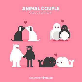 Pacote de casal animal simples dos namorados