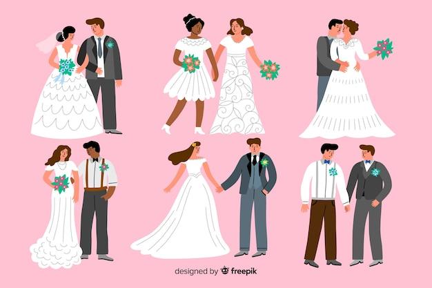 Pacote de casal casamento desenhado à mão