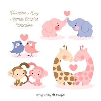 Pacote de casal de animais de dia dos namorados