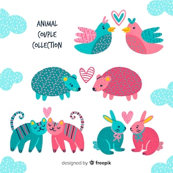 Pacote de casal de animais dos namorados