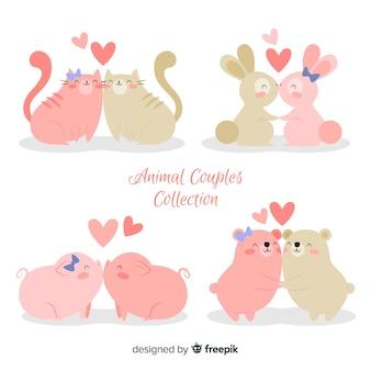 Pacote de casal de animais fofos dia dos namorados