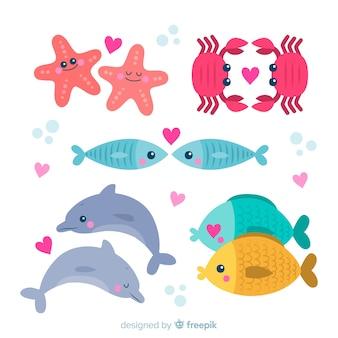 Pacote de casal de animais marinhos dos namorados