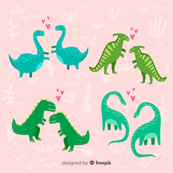 Pacote de casal de dinossauro de dia dos namorados