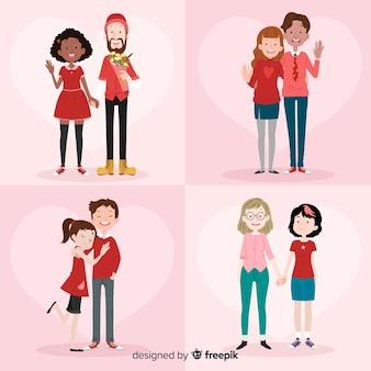 Pacote de casal de diversidade de dia dos namorados