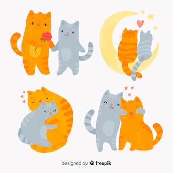 Pacote de casal de gatos dos namorados