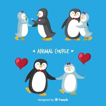 Pacote de casal de pinguim dos namorados