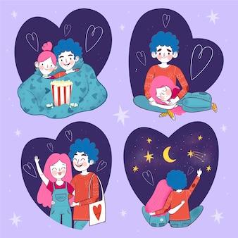 Pacote de casal desenhado à mão para o dia dos namorados