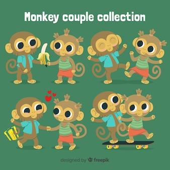 Pacote de casal macaco mão desenhada dos namorados