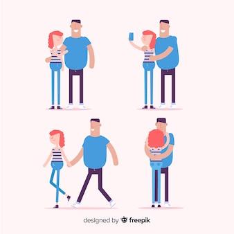 Pacote de casal simples dos namorados