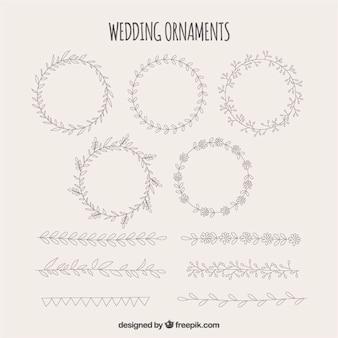 Pacote de casamento frames decorativos com desenhos diferentes