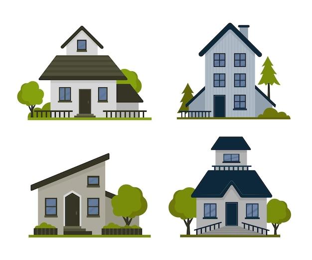 Pacote de casas coloridas diferentes