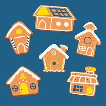 Pacote de casas de gengibre de mão desenhada