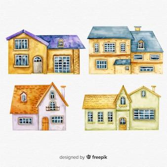 Pacote de casas de mão desenhada