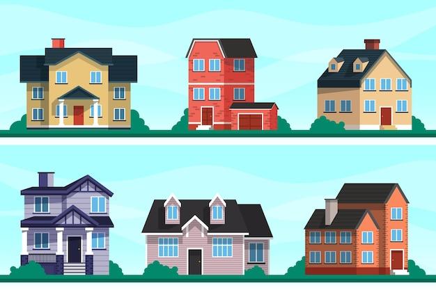 Pacote de casas modernas ilustradas