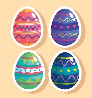 Pacote de celebração de páscoa feliz com quatro ovos pintados de ilustração design