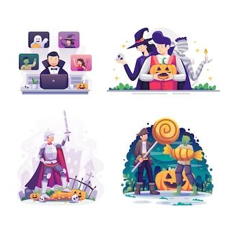 Pacote de celebração do feliz dia das bruxas (doce ou travessura) e festa à noite