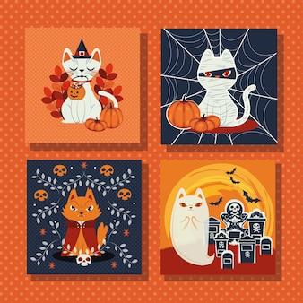 Pacote de cenas com personagens disfarçados de gatos