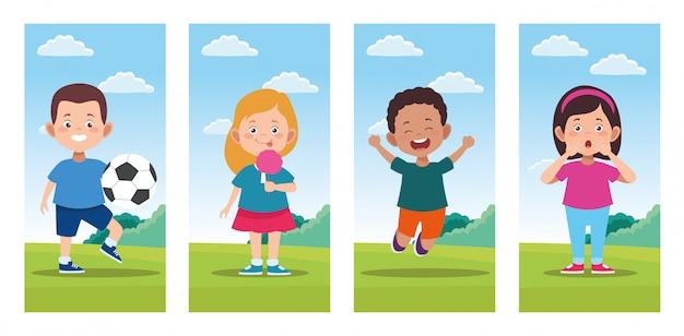 Pacote de cenas de comemoração de dia feliz crianças
