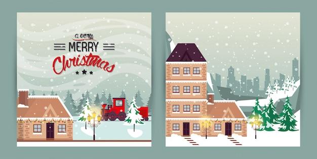 Pacote de cenas de rua de inverno natal
