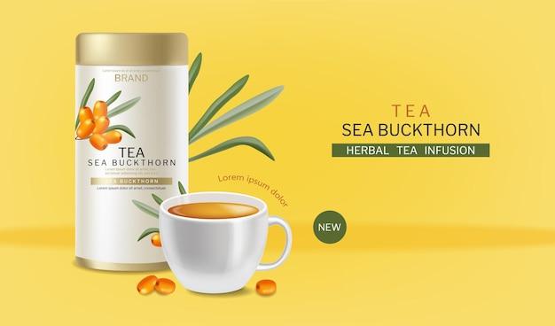 Pacote de chá buckthorn e xícara vetorial realista design de etiqueta de colocação de produto