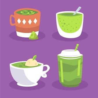 Pacote de chá matcha ilustrado