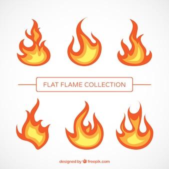 Pacote de chamas no design plano