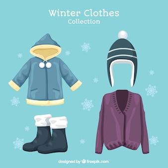 Pacote de chapéu e inverno elementos