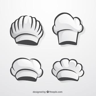 Pacote de chapéus desenhados mão do cozinheiro chefe