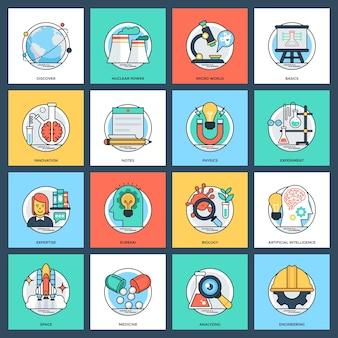 Pacote de ciência e tecnologia plana vetor ícones