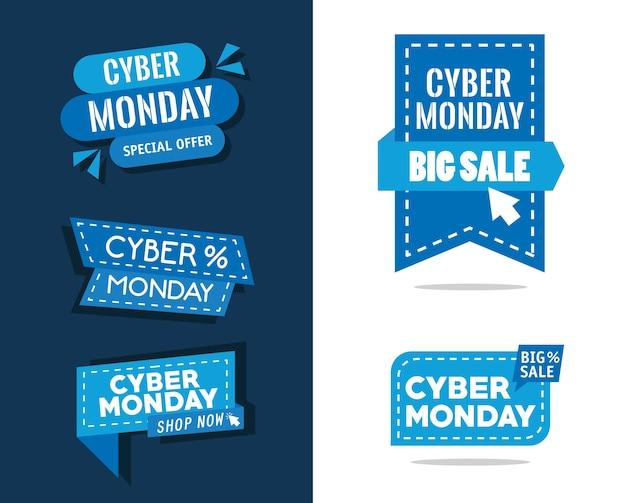 Pacote de cinco banners cibernéticos de segunda-feira desenho de ilustração vetorial
