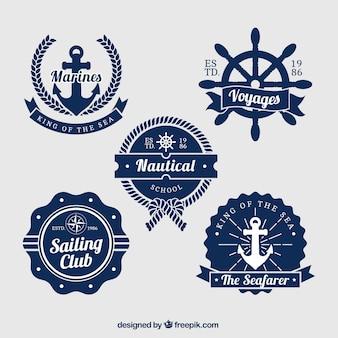 Pacote de cinco emblemas náuticas azuis e brancos