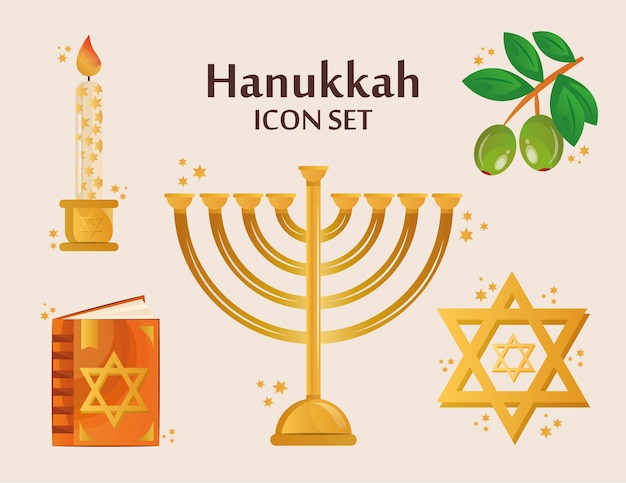 Pacote de cinco ícones de conjunto de hanukkah e letras.