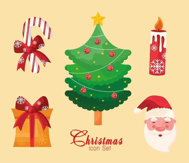 Pacote de cinco ícones e letras do feliz natal feliz