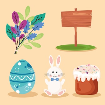 Pacote de cinco ilustração de ícones de conjunto de feliz páscoa