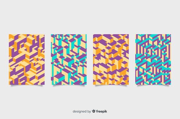 Pacote de cobertura de padrão isométrico colorido