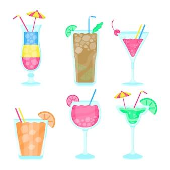 Pacote de cocktail de design plano
