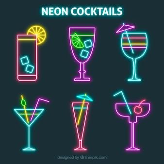 Pacote de cocktails coloridos de néon