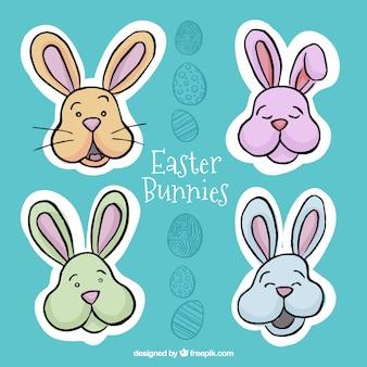Pacote de coelhos desenhados à mão adesivos