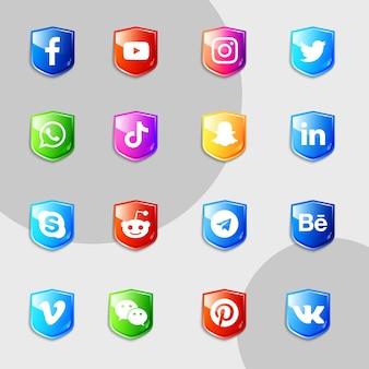Pacote de coleção 3d de ícones de mídia social